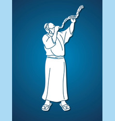 feast trumpetsjewish blowing shofar horn vector image