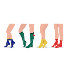Female legs wear socks colorful sport and daily vector