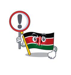 Flag kenya with sign warning cartoon vector