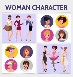 flat woman characters square concept vector image