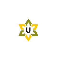 Flower infinity letter u vector