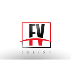 fv f v logo letters with red and black colors and vector image