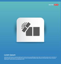 gift box icon - blue sticker button vector image