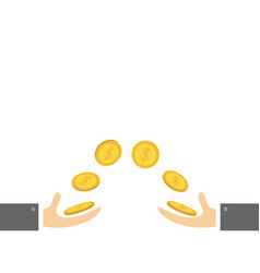 Giving and taking hands with flying golden coin vector