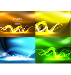 Glowing shiny wave backgrounds set vector