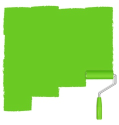 Green background with paint roller vector