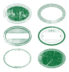 Green Grunge Oval Stamp Set vector image
