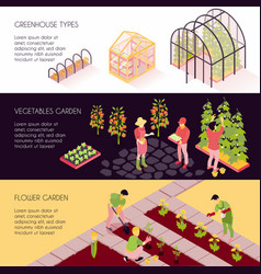 Greenhouse isometric banners vector