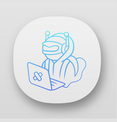 Hacker bot app icon virus robot cyber pirate vector