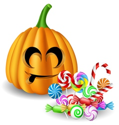 Halloween pumpkin head with candy set vector