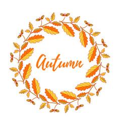 hand drawn vintage autumn wreath vector image
