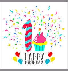happy birthday card for 1 year bafun party art vector image
