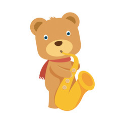 happy brown teddy bear playing saxophone in flat vector image