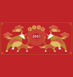 happy new year chinese new year 2021 year ox vector image