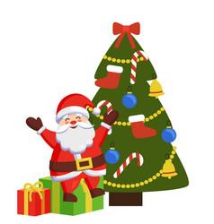 happy santa sits on gift boxes decorated xmas tree vector image