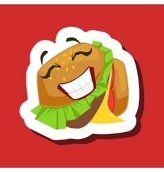 Happy smiling burger sandwich cute emoji sticker vector