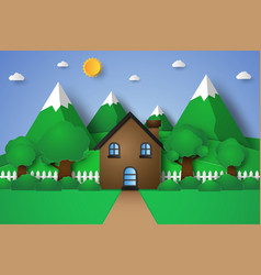 House with nature landscape hill and mountain vector