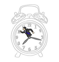 hurry businessman in a big retro alarm clock vector image