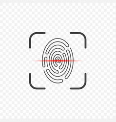 Icon of a fingerprint scanner on a transparent vector
