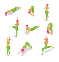 isometric girl doing yoga poses or vector image