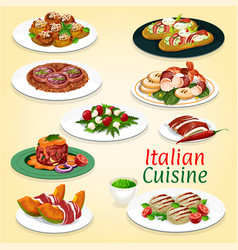 italian cuisine meat and seafood dishes vector image