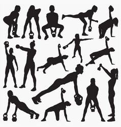 kettlebell work out silhouettes vector image