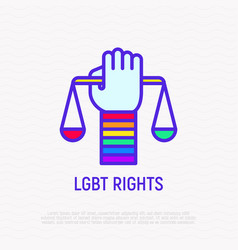 lgbt rights hand with scales rainbow wristband vector image