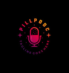 logo podcast gradient colorful style vector image