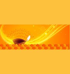 lovely yellow happy diwali diya lights banner vector image