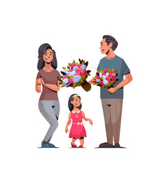 man giving bouquet of flowers to wife and daughter vector image