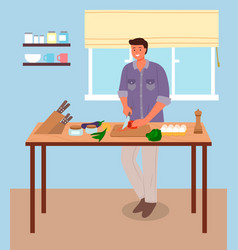 man in a kitchen room stands near table vector image