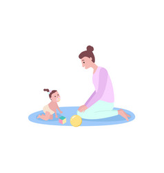 Mother playing with small kid woman and baby vector