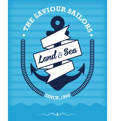 nautical anchor vintage label on blue vector image