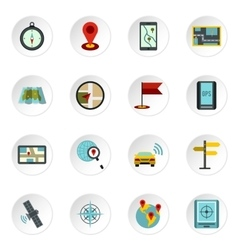 Navigation icons set flat style vector