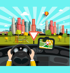 Navigation in car with city on background vector