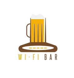 negative space concept of router and beer mug vector image