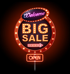 Neon sign big sale vintage electric signboard vector