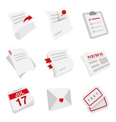 note paper sheet newspaper letter calendar vector image