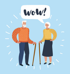 old man and old women talking talk spouse or vector image