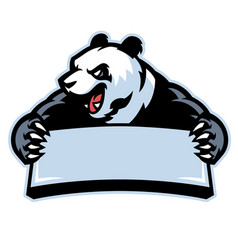 Panda in sport mascot hold the blank banner vector