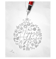 Pen line drawing christmas tree toy ball vector