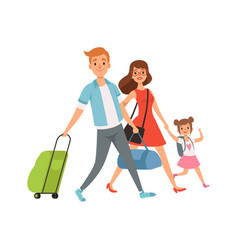 people with suitcase family on vacation travel vector image