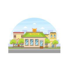 pets shop building facade view city street vector image