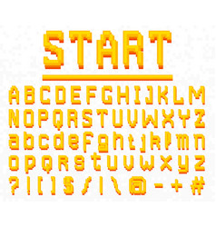 pixel font 8-bit symbols digital video game vector image