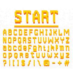 pixel font 8-bit symbols digital video game vector image