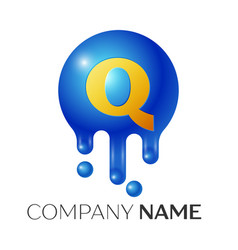 Q letter splash logo blue dots and bubbles letter vector