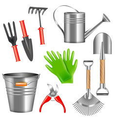 Realistic garden tools set vector