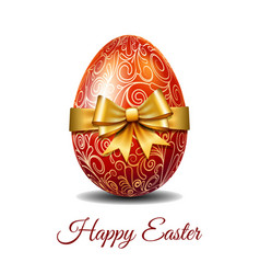 Red easter egg tied of gold ribbon vector