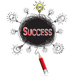 red pencil idea concept red success business vector image