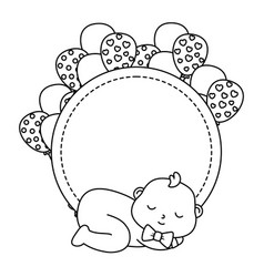 Round frame with basleeping in black and white vector